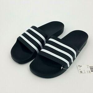 Adidas Originals Adilette Slides Mens Sandal Size 13 Rubber Black White NEW