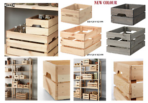 IKEA KNAGGLIG Wooden Pine Storage Box Crate Ideal for storing bottles tools veg