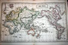 WORLD MAP, large steel engraved handcolored map of the WORLD by F.Biller, 1847