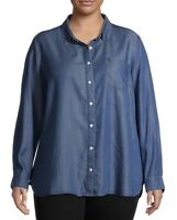 Terra & Sky NWT Womens Blue Midwash Button Down Shirt Top Blouse Size 3X 24W 26W