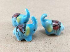 Elephant Miniature Ceramic Blue Animal Figurine Mini Craft Decor Dollhouse