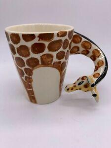 "Unique 4"" Giraffe Shaped Handle Ceramic Coffee Cup ~ ZOO ~ Animals"