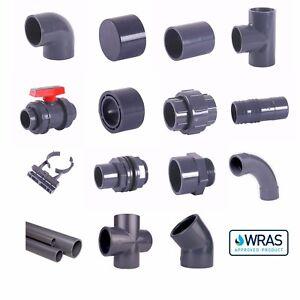PVC Metric Solvent Weld Pressure Pipe Fittings 12mm to 75mm OD Marine Aquariums