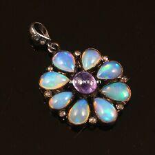 925 Sterling Silver Rose cut Diamond Ethiopian Opal Tanzanite Pendant P-174