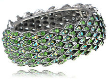 Retro Metal Shimmery Green Crystal Rhinestone Bird Feathers Bracelet Bangle Cuff