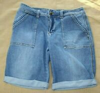 Time and Tru Size 6 Blue Denim Jean Shorts Stretch Cuffed NICE! Mid Length