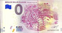 BILLET 0  EURO MOULIN VALLIS CLAUSA FRANCE  2018  NUMERO 100