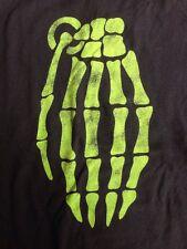 Grenade Green Skeleton Hand Graphic Skater T-Shirt Cotton Black Mens L
