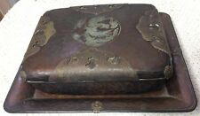 ANTIQUE JAPANESE HAMMERED COPPER BOX & TRAY WITH PHOENIX SIGNED