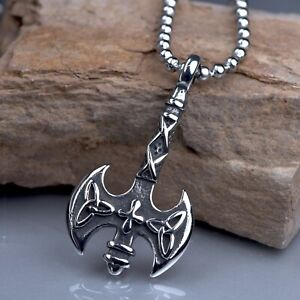 Silver Medieval Double Sided Axe Labrys pendant stainless steel chain necklace