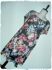Vibe Black Floral  A Line Knit Skate Dress With Statement Necklace 3X