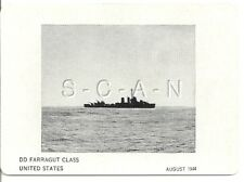 WWII Double Sided Recognition Photo Card- Navy Destroyer DD Farragut Class- 1944