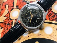 Black dial Vintage Eloga Watch Co Triple Date Calendar 17 Jewel Men's Watch
