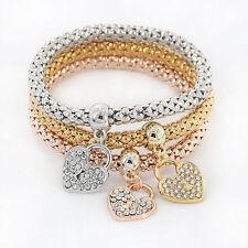 3Pcs/Pack Women Girls Gold/Silver/Rose Gold Crystal Love Heart Bracelets Bangles