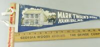 VTG Felt Pennant Historical Rare 1950s mark Twain Home Hannibal Missouri MO