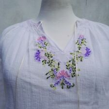 1960 Vintage Top White Blouse Pink Green Purple embroidery Vintage Clothing