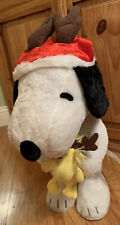 Snoopy & Woodstock Huge Free Standing Plush Christmas Theme Hard to Find Santa