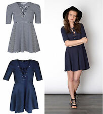 Polyester Short Sleeve Skater Regular Size Dresses for Women