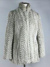 River Island Dove Grey Faux Fur  Sable Ladies Blogger Coat 10 S 36