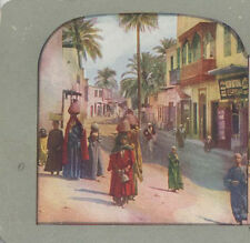 COLOR STEREOVIEW OF CROWED STREET OF PEOPLE - LUXOR, EGYPT