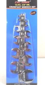 """CROWFOOT 10pc 3/8"""" Inch Drive Crowfoot Wrench Set SAE 3/8""""-1"""" CHROME PLATED"""