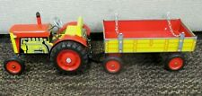 Vintage ZETOR TIN LITHO KEY WIND TRACTOR & TRAILER Excellent Condition NO KEY