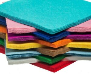 Pack of 10 sheets Super Soft Acrylic Craft Felt. 48 Colours UK Safety Certified