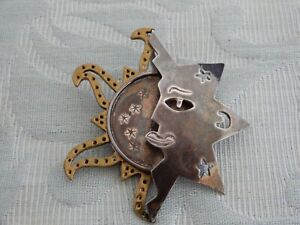 Large Unusual Silver Sun, Moon & Stars Brooch Pendant, 1960's Mexican Taxco?