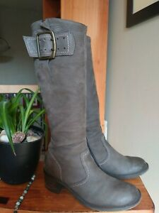Paul Green Womens AT 5 US 7.5 Tall Brown Nubuck Leather Zip Knee Boots