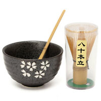 Japanese Tea Ceremony Matcha Ceramic Tea Bowl Bamboo Scoop Set Gift !