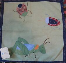 "Pottery Barn Kids BUGS Throw PILLOW COVER 16"" New Grasshopper Beetle Green"