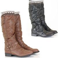 Womens Ladies Winter Biker Style Slouch Zip Low Flat Heel Calf Knee Boots Size