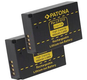 2 x Patona Akku für Canon EOS M, M10, M50, M100, M200, 100D, Rebel SL1 - LP-E12