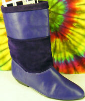 size 6.5 vintage 80s purple leather ROBINSONS flat riding ankle boots