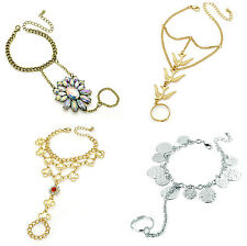 Fashion Lady Crystal Hand Harness Bracelet Bangle Chain Link Finger Ring Jewelry
