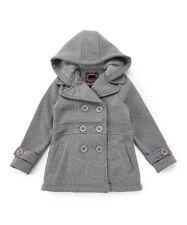 Girls Pea Coat, Dress Coat with Hood Red, Navy Blue,Gray, Black, Sz: 6,8,10,12