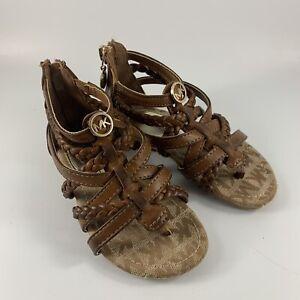 Infant/Toddler Size 7 Brown Cognac Leather Like Tatiat Michael Kors Sandals