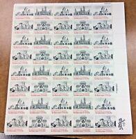 #1838- 41 15¢ Architecture MNH Sheet 1980 Smithsonian, Trinity Church, Penn Aca