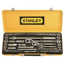 "Stanley 64-Pc 1/4"" 3/8"" 1/2"" DRIVE SOCKET SET Chromed Vanadium Steel *USA Brand"