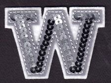 """LETTERS - Silver  Sequin  2"""" Letter """"W"""" - Iron On Embroidered Applique"""