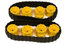 LEGO 2 x BLACK Rubber Caterpillar Treads + 8 Wheels LARGE digger tank technic