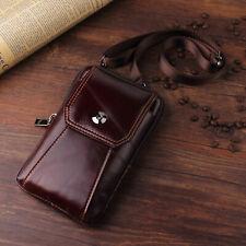 Luxury Genuine Cowhide Leather Belt Pocket Bag Waist Pack Cigarette Phone Wallet