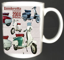 LAMBRETTA SX 200 SPECIAL X 200 SCOOTER COFFEE MUG.MODS WITH HISTORY ON REVERSE