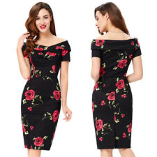 Vintage Women Retro 1950s Floral Wiggle Evening Midi Dress Formal Hips-wrapped