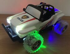 POLICE JEEP MONSTER TRUCK Radio Remote Control Car STEERING WHEEL FLASHING LEDS