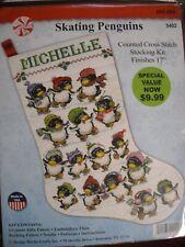 Design Works Cross Stitch Stocking Kit #5402 Skating Penguins Christmas holly