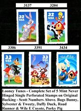 Warner Bros Looney Tunes Complete Set 5 MNH Scotts 3137 3204 3306 3391 & 3434