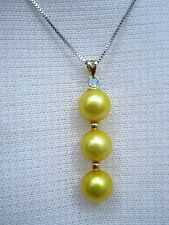 NATURAL 10-11MM GENUINE SOUTH SEA GOLDEN PEARL PENDANT NECKLACE 14K GOLD