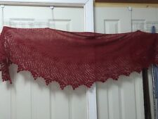handknit mohair /wool  blend lace scarf/stole/wrap in ruby