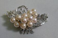 Vintage 14K White Gold Pearl Brooch - Spray Design